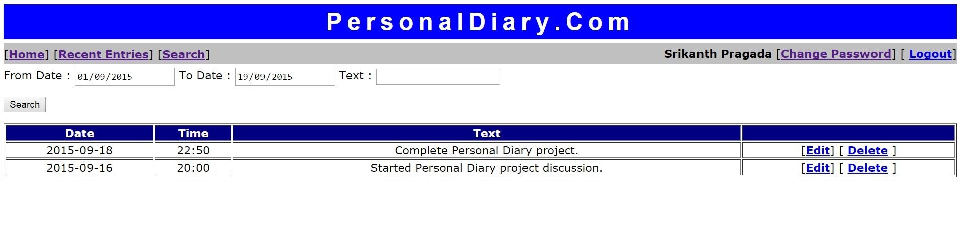 PersonalDiary Com Using JSF 2 2 + JDBC + Eclipse